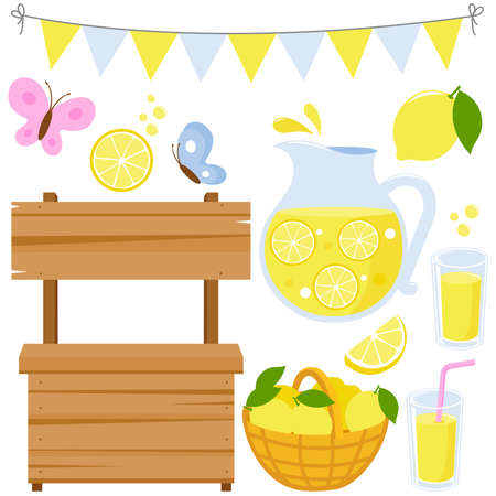 Lemonade stand and fresh lemon juice in pitcher and glasses. Vector illustration collection