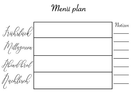Meal planner template with hand lettering Illustration