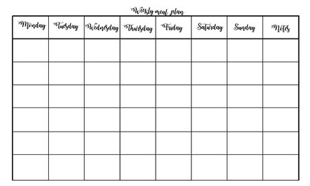 Weekly menu plan. Simple and modern design with place for notes