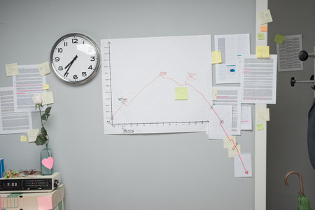 Business failure chart on office wall with paperwork and stick notes. photo