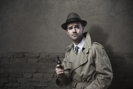 raised eyebrow: Terrified funny vintage detective pointing a revolver