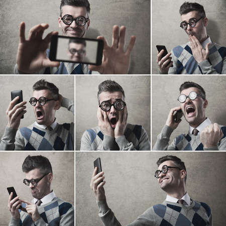 Collage of images of  funny clueless guy with his smartphone photo