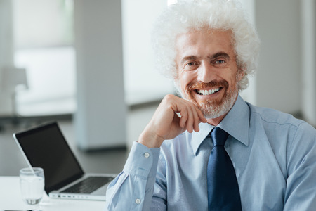 white collar worker: Confident mature businessman sitting at office desk and smiling at camera with hand on chin Stock Photo
