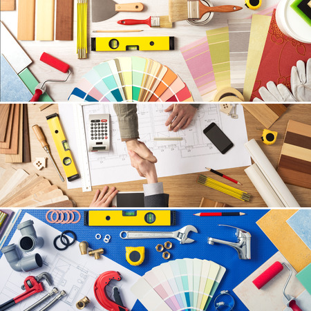 architect tools: Home remodeling and renovation banner set with work tools, swatches, house plan project, architect and customer shaking hands Stock Photo