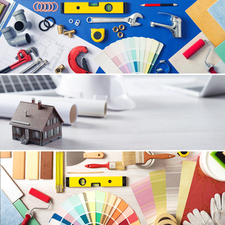 DIY home improvement and renovation banners set with work tools, swatches and model house