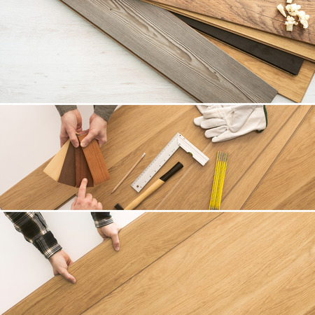 Carpenter installing wooden flooring  planks, home renovation and improvement concepts banners set Stockfoto