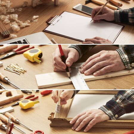 drafting tools: Do it yourself and home improvement concept collage with carpenter drafting a project and working with tools and wood