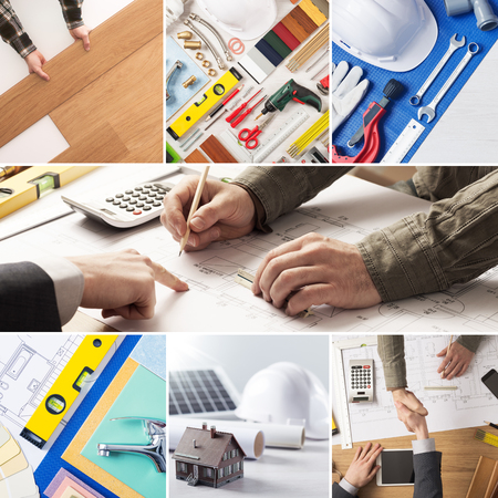 renovation: Home renovation and improvement steps including construction project, flooring installation and plumbing, professionals hands at work Stock Photo