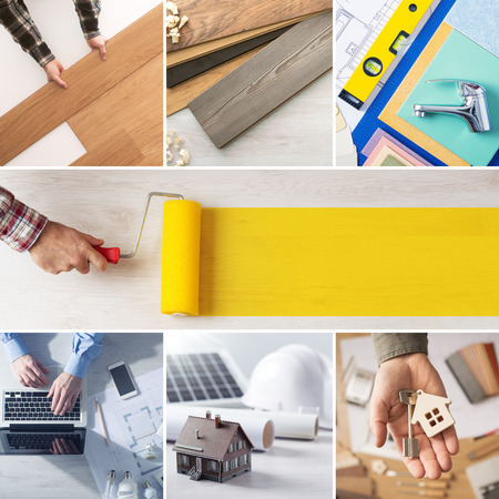 home renovation: Home renovation and improvement step by step collage with professionals hands at work and roller paint at center with copy space
