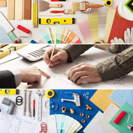 Home renovation and improvement banner set with work tools, swatches, architect and customer hands at work