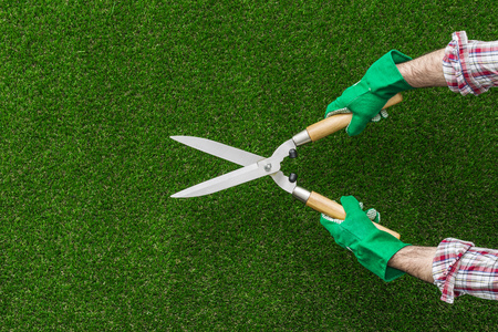 Gardener working and holding pruning shears, hobby and gardening concept Stockfoto