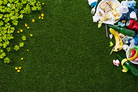 green environment: Environment and waste concept banner: green lush grass on the left and dirty rubbish on the right