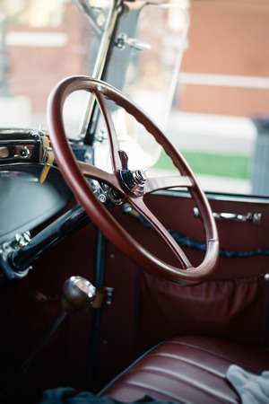 drivers seat: the drivers seat of an old car