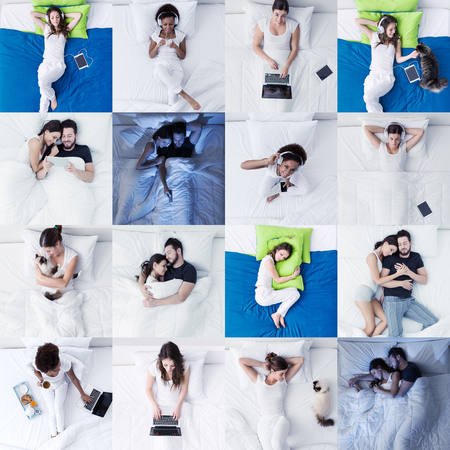 People and bedroom lifestyle: people lying in bed, sleeping, connecting and relaxing, pictures mosaic set
