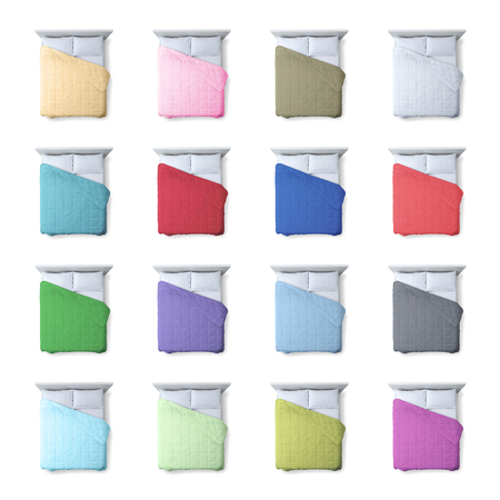 Collection of colorful duvets and beds on white background, bedding and home decor concept, top view