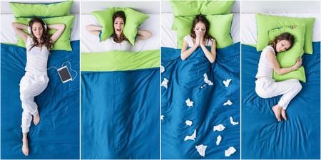 Young woman in the bedroom lifestyle, she is listening to music, covering her ears with a pillow, having a flu and sleeping, pictures collection