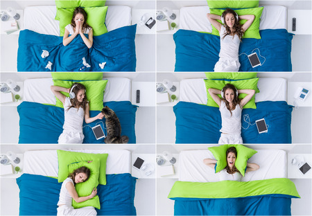 Woman in the bedroom lifestyle set, she is sleeping, listening to music, having a cold, cuddling her pet and covering her ears with a pillow, banner set