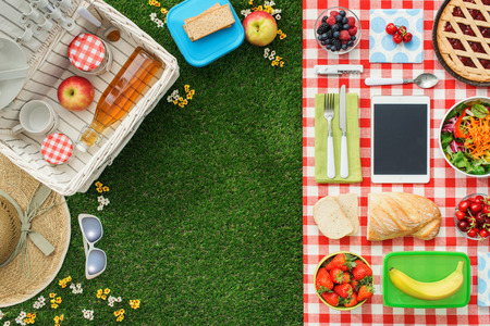 Picnic at the park on the grass: tablecloth, basket, healthy food and accessories, top view