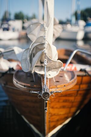 Vintage wooden sailboat at the harbor, bow close up: navigation and travel concept Stock Photo
