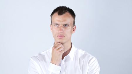 Man thinks very intensely having headache , stress