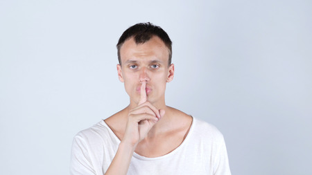 Silent Please, Gesture by Man, Finger on Lip