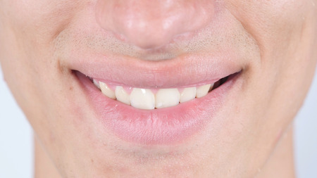 Smile, Close Up Of Mans Face Lips
