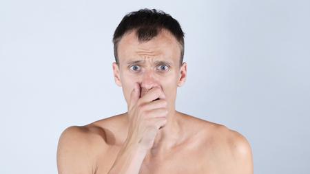 prank: Portrait of handsome, surprised, shocked, stunned Man Stock Photo