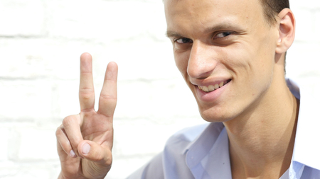 Man with Sign of  Victory, Hand Gesture
