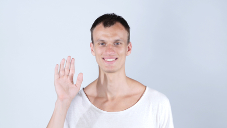 meet and greet: portrait of smiling man standing and showing hand sign of hi and bye bye Stock Photo