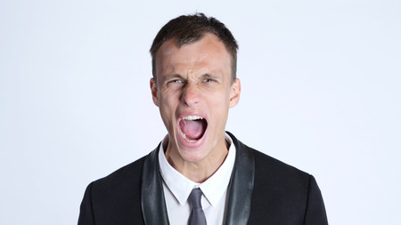 Businessman in anger screaming Stock Photo