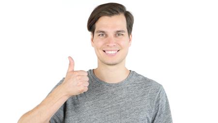 showing good job Sign, thumbs Up, Success, Positive Man Stock Photo
