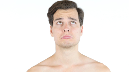 Portrait of a man with Sad angry expression Stock Photo