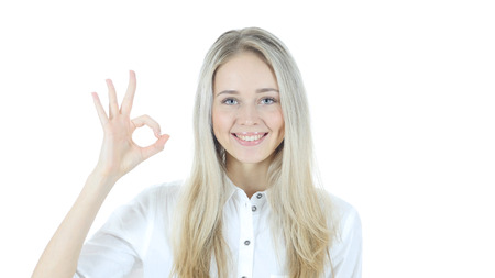 Woman Showing Ok Sign, White Background