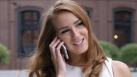 Girl Talking on Phone, Standing Outdoor, Portrait