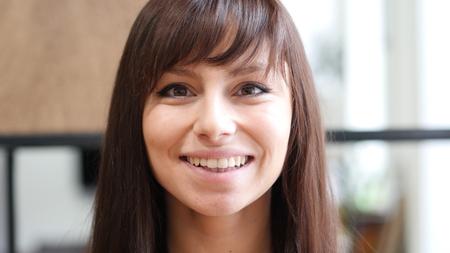 Close Up Of Beautiful Smiling Woman Face Stock Photo
