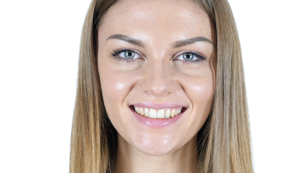 Smiling Female Face, Close Up Stock Photo