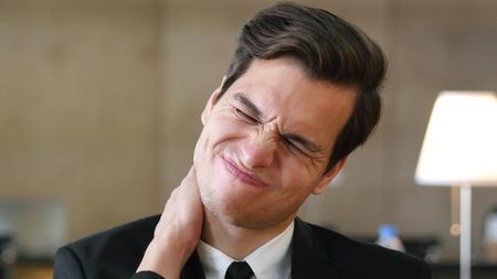 Neck Pain, Tired Businessman at Work, Portrait
