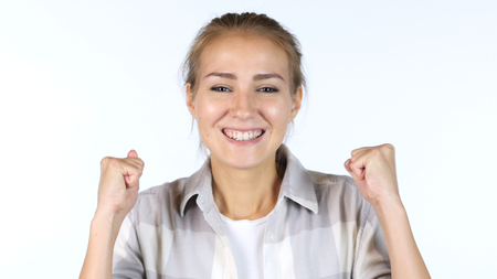 Young Female Student Reacting To Success , Excited