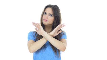 Stop, Rejecting Gesture, No By Woman , , White Background