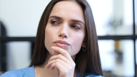 Thinking, Pensive Woman, Indoor Close Up
