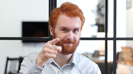 Man Pointing at Camera, Portrait Stock Photo