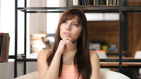 fantasize: Thinking Young Woman, Indoor Office