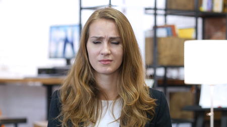 Arguing, Portrait of Upset Angry Working Girl in Office