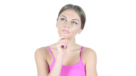 fantasize: Thinking, Portrait of Pensive Woman, White Background