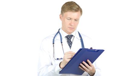 prescription pad: Doctor writing a medical prescription, Case History Stock Photo