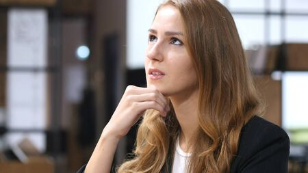 fantasize: Thinking, Pensive Beautiful Girl Sitting Indoor