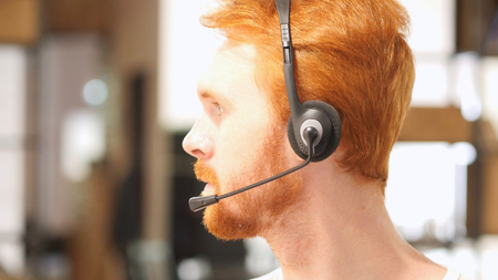 Portrait man with headset , call center
