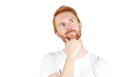 Thoughtful man , day dreaming , Portrait of a adult red hair men