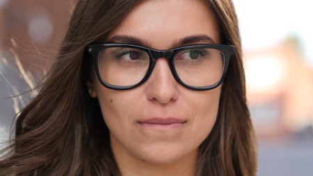 Close Up of Sad and Crying Girl Face in Glasses, Outdoor Standard-Bild