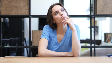 Thinking, Pensive Beautiful Brunette Woman, Indoor